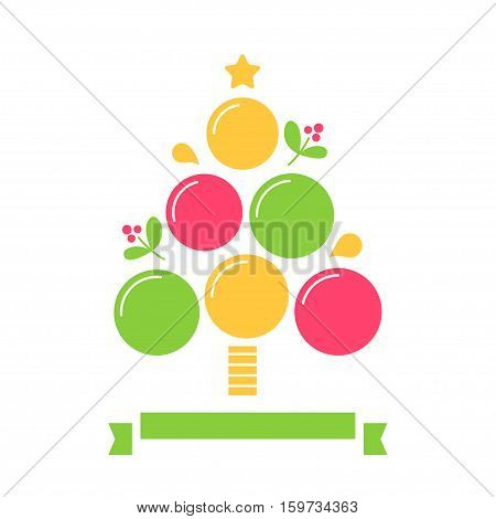 Christmas Tree Inforgaphics Chart Template. Vector Design