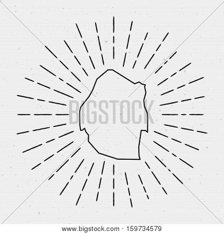 Retro Sunburst Hipster Design. Swaziland Map Surrounded By Vintage Sunburst Rays. Trendy Hand Drawn