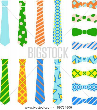 Ties and bow ties set in cartoon style.