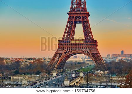 Scenic View Of The Eiffel Tower At Sunset