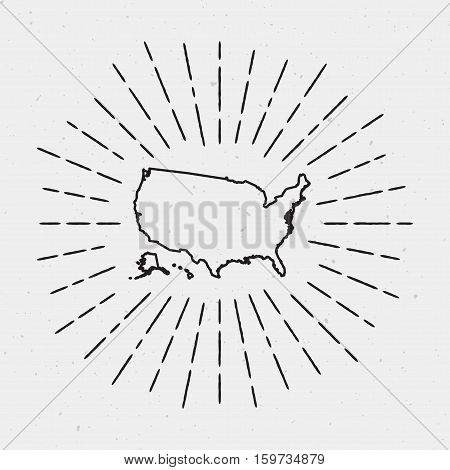 Vector United States Map Outline With Retro Sunburst Border. Hand Drawn Hipster Decoration Element.