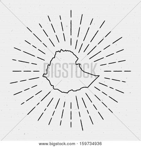 Retro Sunburst Hipster Design. Ethiopia Map Surrounded By Vintage Sunburst Rays. Trendy Hand Drawn S
