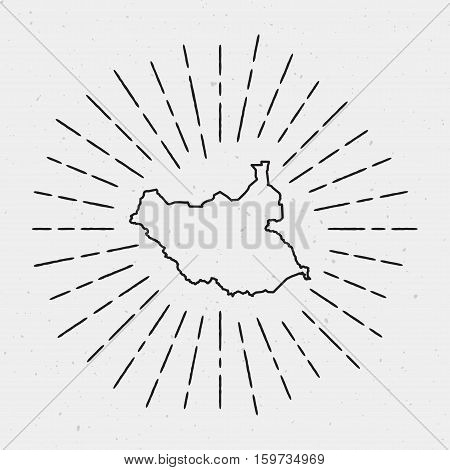 Retro Sunburst Hipster Design. South Sudan Map Surrounded By Vintage Sunburst Rays. Trendy Hand Draw