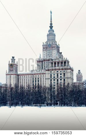Main building of the Lomonosov Moscow State University. MGU. The Sparrow Hills Moscow Russia. Winter.