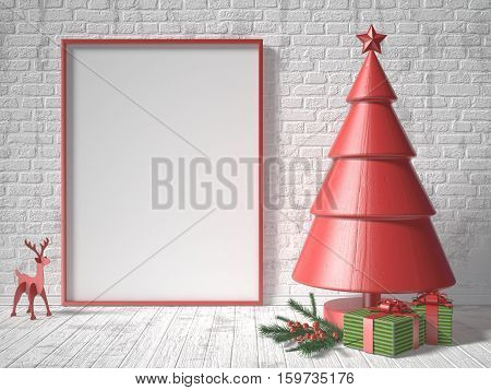 Mock up blank picture frame Christmas tree decoration and gifts. 3D render illustration