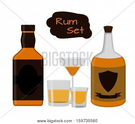 Rum set. Alcohol drink glasses shots bottles of rum. Flat style design. Vector illustration. Rum whiskey brandy liquor for pubs restaurants hipster bars
