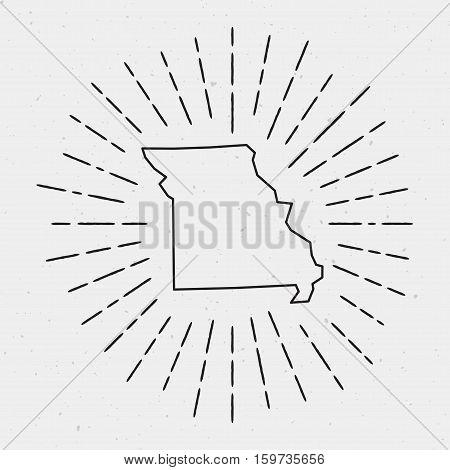 Retro Sunburst Hipster Design. Missouri Map Surrounded By Vintage Sunburst Rays. Trendy Hand Drawn S