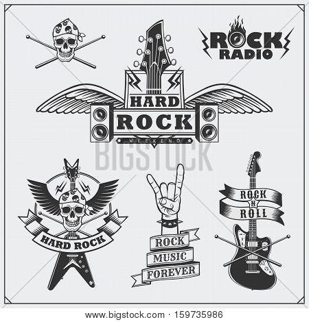 Rock'n'Roll music symbols, labels, badges and design elements.