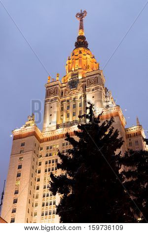 Main building of the Lomonosov Moscow State University. MGU. The Sparrow Hills Moscow Russia. Winter. Night view.