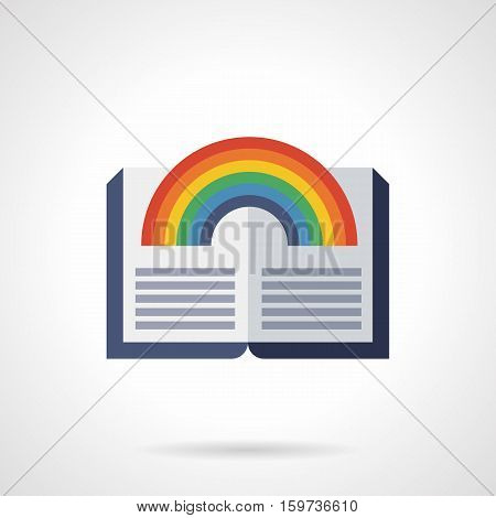 Open book with bright rainbow image for children fairy tale and fantasy. Reading kids for imagination. Flat color style vector icon.