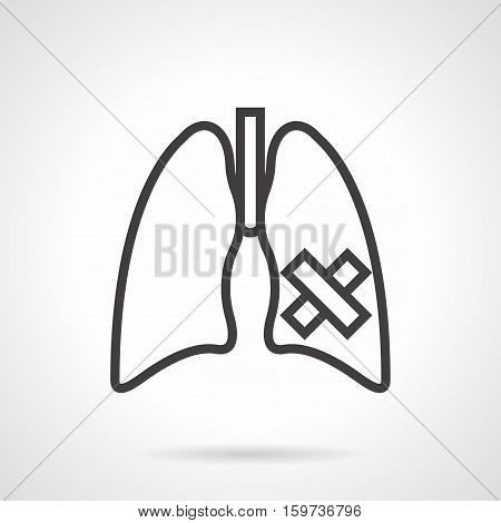 Symbol of lung disease - cancer, tuberculosis, pneumonia. Healthcare and treatment concept. Harm of smoking for human. Black simple line style design vector icon.