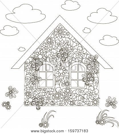 Flowers home, adult coloring page anti-stress stock vector illustration