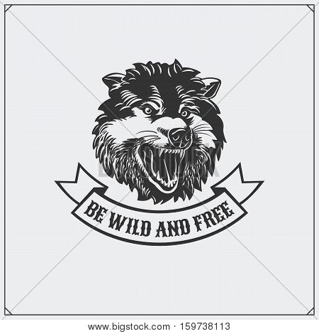 The emblem with wolf. Vector monochrome illustration.