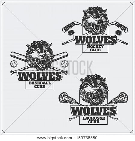 Lacrosse, baseball and hockey badges and labels. Sport club emblems with head of wolf.