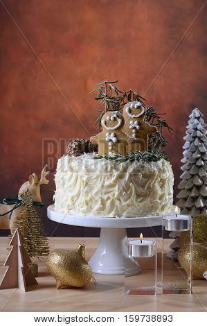 Festive Christmas White Chocolate Cake With Gingerbread Men Cook