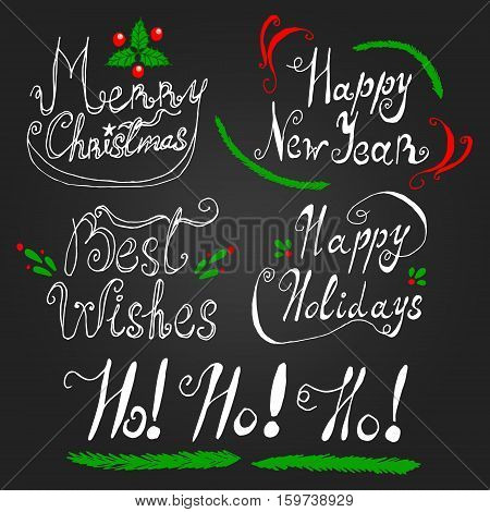 Lettering card set for Xmas Christmas New Year holiday season with phrases: Merry Christmas Happy New Year Best Wishes Happy Holidays Ho!Ho!Ho!