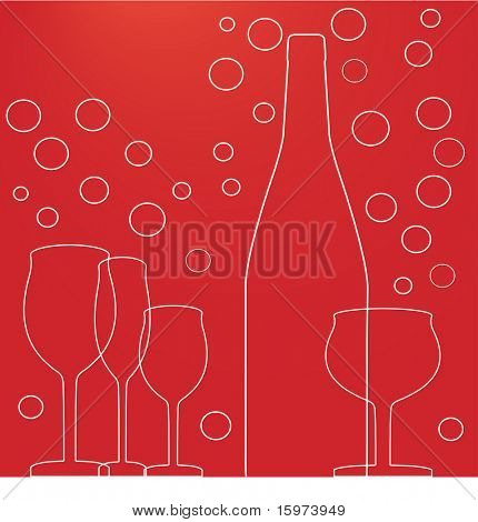 wine glasses bottle and bubbles