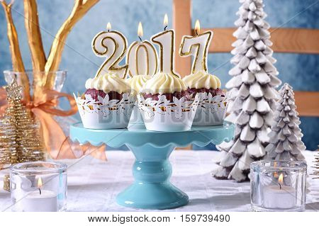 New Year 2017 Cupcakes On A Winter Theme Table Setting