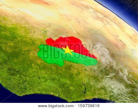 Burkina Faso With Embedded Flag On Earth