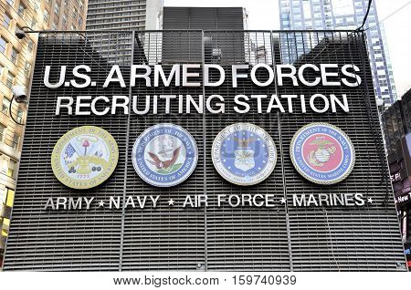 New York City USA - May 3 2015: signboard for USA armed forces recruiting station on Times Square