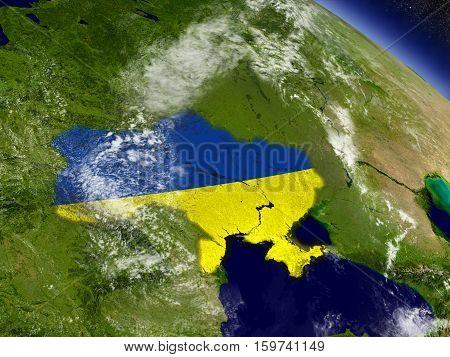 Ukraine With Embedded Flag On Earth