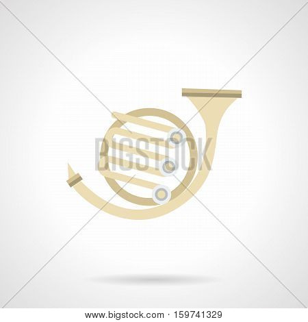 Brass wind orchestra musical instruments. Symbol for music shop, lessons, festivals and other events and cases. Flat color style vector icon.