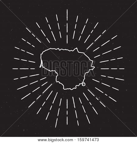 Lithuania Vector Map Outline With Vintage Sunburst Border. Hand Drawn Map With Hipster Decoration El