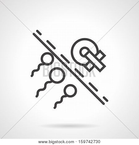 Conception of infertility and insemination problem. Damaged ovum and sperm. Effects of diseases, smoking and other bad habits for reproduction. Black simple line style design vector icon.