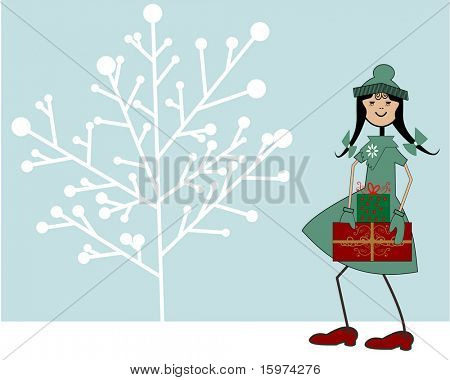 Paige goes christmas shopping vector