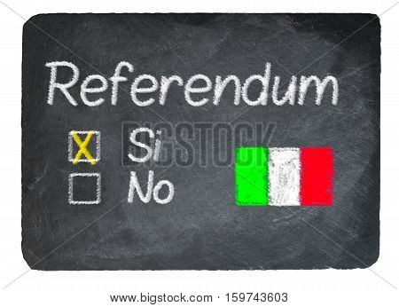 Italy Referendum Concept Using Chalk On Slate Blackboard