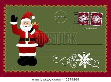 santa postcard vector