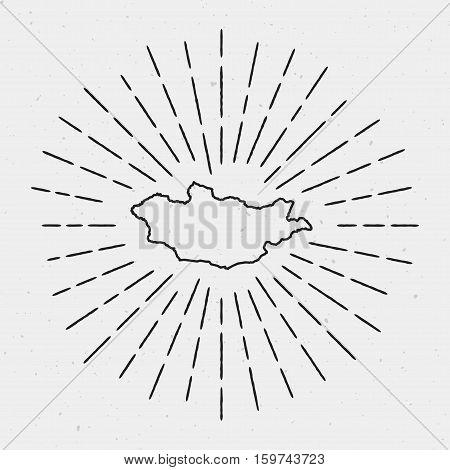Vector Mongolia Map Outline With Retro Sunburst Border. Hand Drawn Hipster Decoration Element. Black