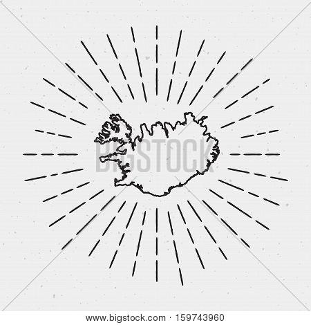 Retro Sunburst Hipster Design. Iceland Map Surrounded By Vintage Sunburst Rays. Trendy Hand Drawn Su
