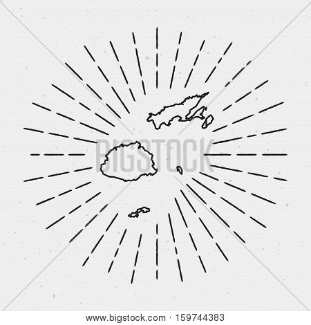Retro Sunburst Hipster Design. Fiji Map Surrounded By Vintage Sunburst Rays. Trendy Hand Drawn Sun R