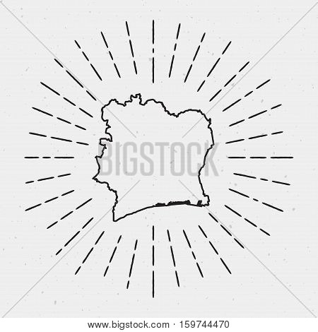 Vector Cote D'ivoire Map Outline With Retro Sunburst Border. Hand Drawn Hipster Decoration Element.