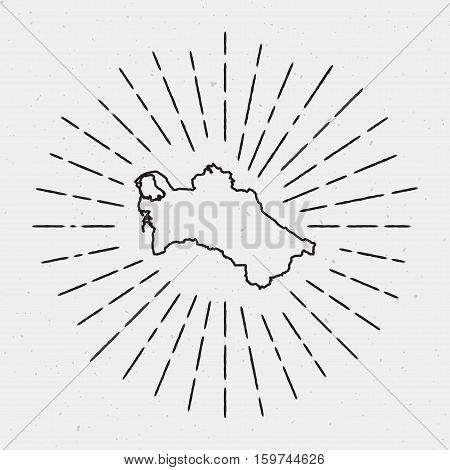 Vector Turkmenistan Map Outline With Retro Sunburst Border. Hand Drawn Hipster Decoration Element. B