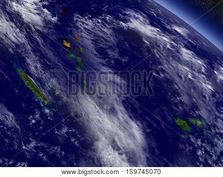 Vanuatu With Embedded Flag On Earth