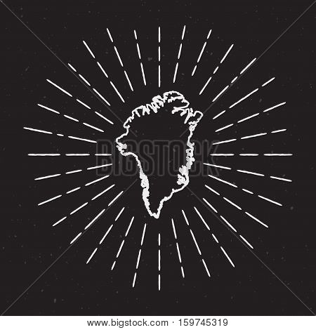 Greenland Vector Map Outline With Vintage Sunburst Border. Hand Drawn Map With Hipster Decoration El