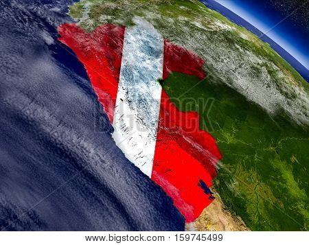 Peru With Embedded Flag On Earth