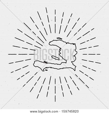 Retro Sunburst Hipster Design. Haiti Map Surrounded By Vintage Sunburst Rays. Trendy Hand Drawn Sun