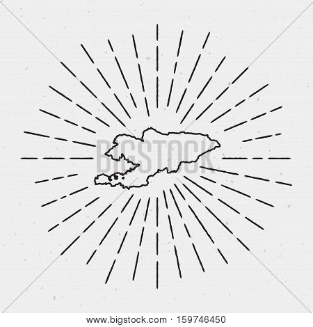 Vector Kyrgyzstan Map Outline With Retro Sunburst Border. Hand Drawn Hipster Decoration Element. Bla