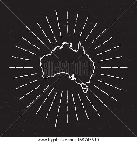 Australia Vector Map Outline With Vintage Sunburst Border. Hand Drawn Map With Hipster Decoration El