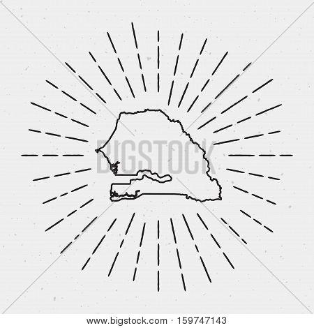 Retro Sunburst Hipster Design. Senegal Map Surrounded By Vintage Sunburst Rays. Trendy Hand Drawn Su
