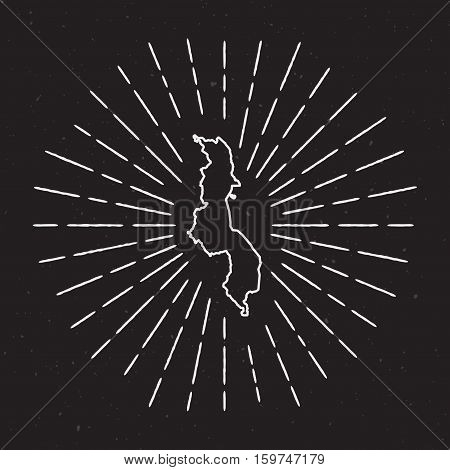 Malawi Vector Map Outline With Vintage Sunburst Border. Hand Drawn Map With Hipster Decoration Eleme