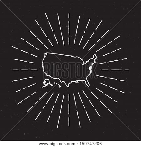 United States Vector Map Outline With Vintage Sunburst Border. Hand Drawn Map With Hipster Decoratio