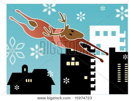 flying reindeer (over city)