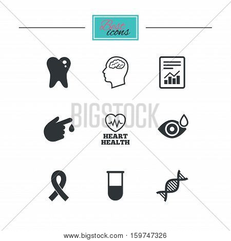 Medicine, medical health and diagnosis icons. Blood test, dna and neurology signs. Tooth, report symbols. Black flat icons. Classic design. Vector