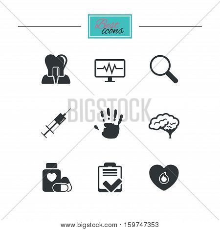 Medicine, medical health and diagnosis icons. Blood, syringe injection and neurology signs. Tooth implant, magnifier symbols. Black flat icons. Classic design. Vector