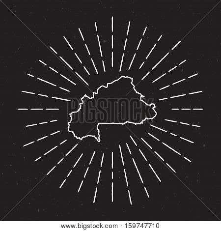 Burkina Faso Vector Map Outline With Vintage Sunburst Border. Hand Drawn Map With Hipster Decoration