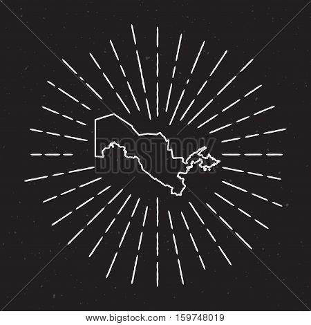Uzbekistan Vector Map Outline With Vintage Sunburst Border. Hand Drawn Map With Hipster Decoration E